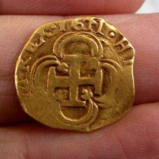 A66 Early Dated Gold Cob 1 Escudo Philip Ii 1611 Sevilla Spain Coloni photo