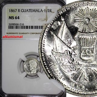Guatemala Silver 1867 - R 1/2 Real,  Medio Ngc Ms64 Mintage - 92,  000 1st Year Km 143 photo