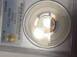 1867 - B Germany Saxony Groschen Pcgs Ms65 Gem Toned Pop 1/0 None Higher photo