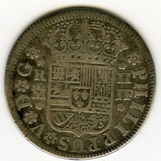 ☆ Spanish Silver • 2 Real 1737 Jf Madrid • Philippus V ☆ Cal - 1255 ☆ Spain ☆c3048 photo
