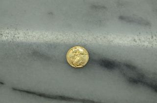 10k Gold Mini Coin Eagle & Liberty Design 9.  8mm 0.  3 Grams photo
