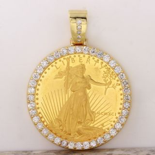 1991 1 Oz Gold American Eagle Bu (mcmxci) & 3.  30ct Diamond Coin Pendant 48g. photo