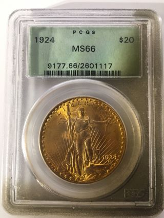 1924 $20 St.  Gaudens Gold Coin Pcgs Ms66 photo