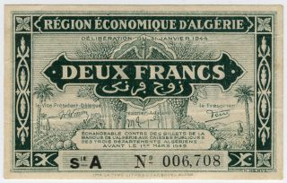 Algeria 1944 Issue 2 Francs Note Crisp Xf.  Pick 99a. photo