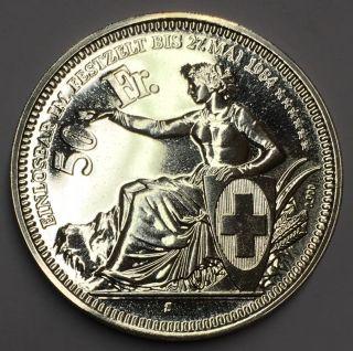 Scarce Zurich Switzerland 1984 50 Francs Swiss Shooting Thaler Silver Crown Coin photo