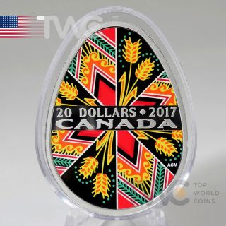 Canada 2017 20$ Traditional Ukrainian Pysanka 1oz Proof Silver Coin photo