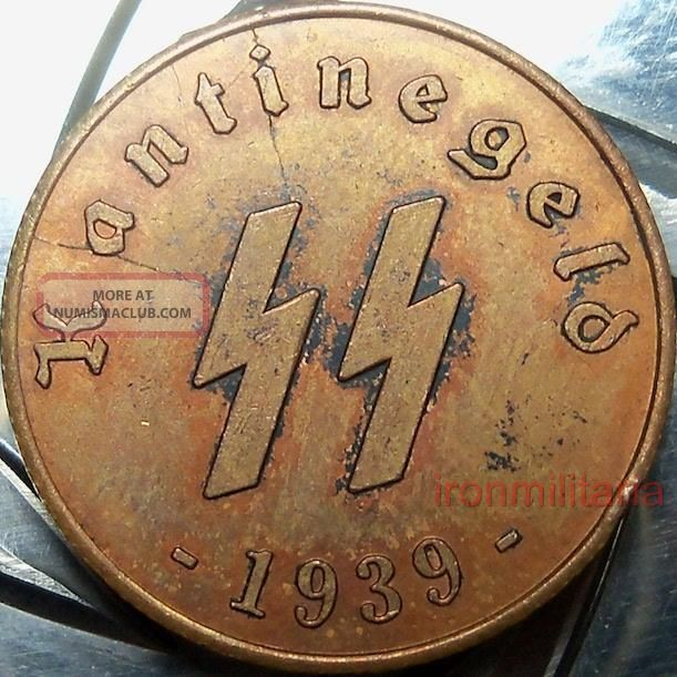 German Ss Kantinegeld - 1939 - Xscarce Copper - Ww2 Nazi Era Germany Kantinengeld Coin Germany photo