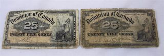 Two 1900 Dominion Of Canada 25 Twenty Five Cents Fractional Currency photo