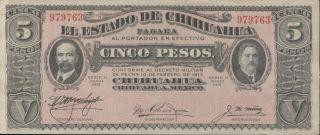 Mexico - El Estado De Chihuahua 5 Pesos P - S532a Xf photo