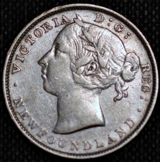 Newfoundland.  20 Cents 1889.  Queen Victoria.  Km 4.  Silver Coin. photo