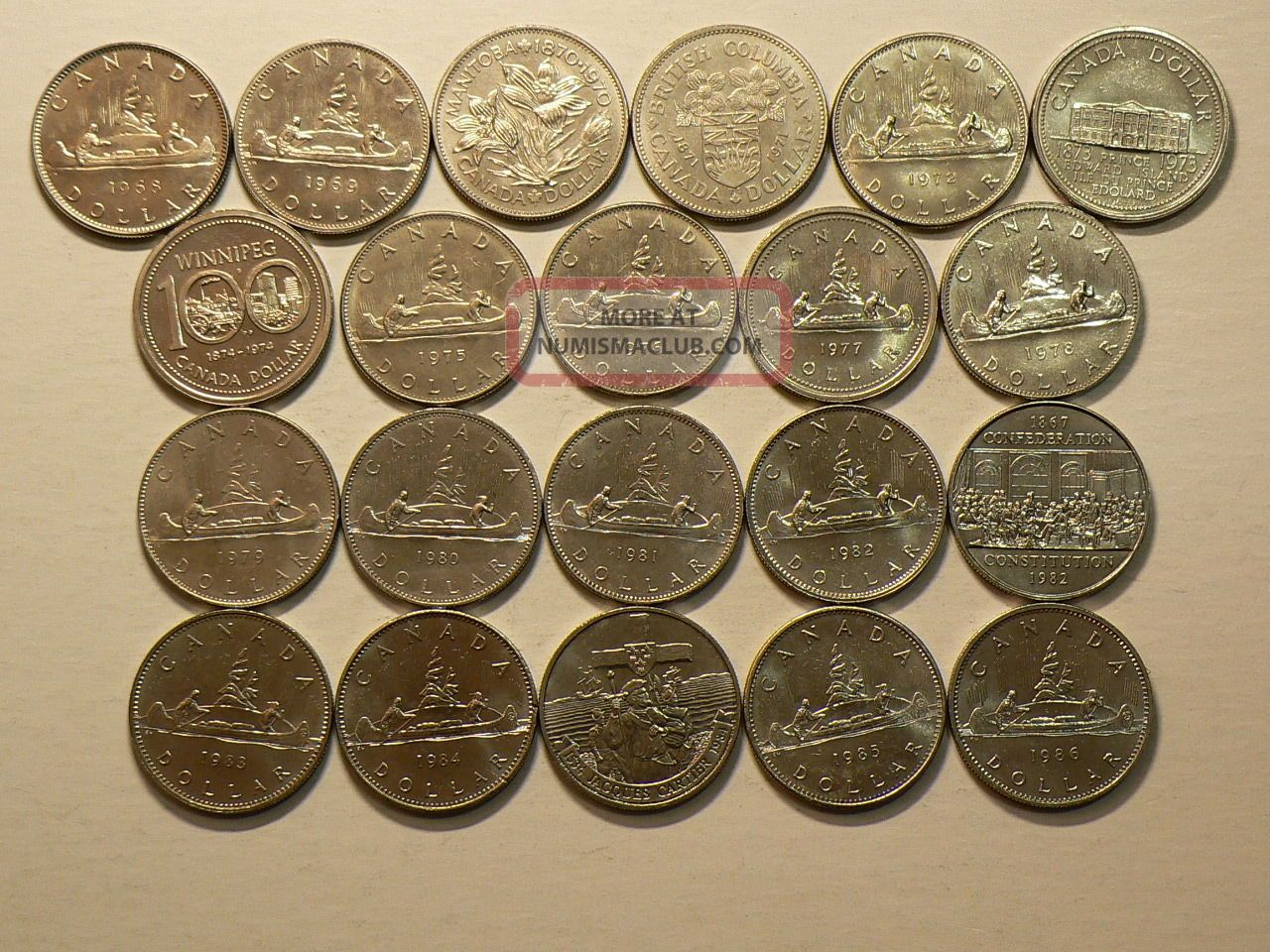 Canada,  Complete Series Of 21 (1968 – 1986) Uncirculated Dollars 6136 Coins: Canada photo
