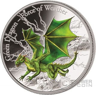 Green Dragon Force Of Weather 3 Oz Silver Coin 5$ Fiji 2017 photo
