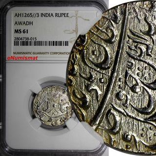 India - Princely States Awadh Wajid Ali Silver Ah1265/3 Rupee Ngc Ms61 Km 365.  1 photo