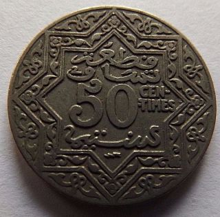 1924 Morocco 50 Centimes 1 Year Type Coin Very Made Of Nickel photo