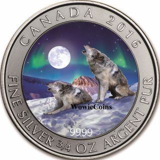 2016 Canadian 3/4 Oz 0.  9999 Silver Colourized Grey Wolf Coin Aurora Borealis photo