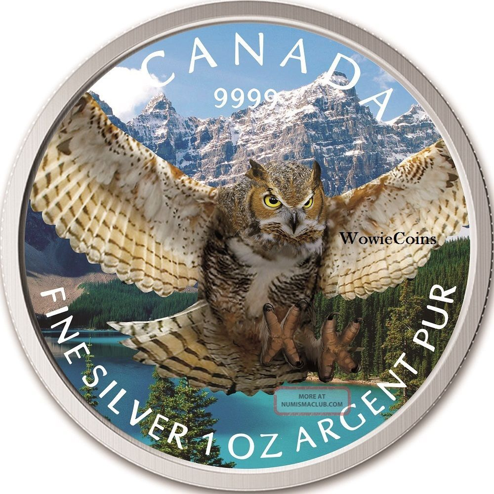 2015 Canadian 1 Oz 0.  9999 Silver Horned Owl Colourized Coin Birds Of Prey Series Dollars photo