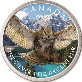 2015 Canadian 1 Oz 0.  9999 Silver Horned Owl Colourized Coin Birds Of Prey Series photo