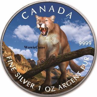 2012 Canadian 1 Oz 0.  9999 Fine Silver Colourized Wildlife Series Cougar Coin photo