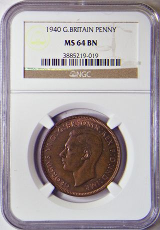 1940 Penny Great Britain Ngc Ms - 64 Bn Km 845 photo