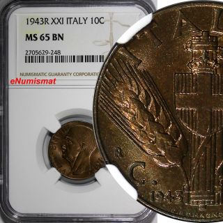 Italy Vittorio Emanuele Iii 1943 - R Year Xxi 10 Centesimi Ngc Ms65 Bn Km 74a photo