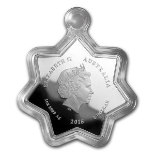 2016 Australia 1 Oz Silver Christmas Candle $1 Coin Star Shaped Holiday Ornament photo