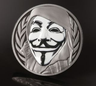 Guy Fawkes Mask Anonymous V For Vendetta 1oz Black Proof Silver Coin 2016 Ci photo