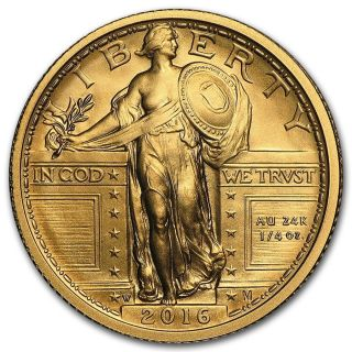 2016 W 100th Anniversary Standing Liberty Quarter 9999 Pure Gold $574.  88 photo