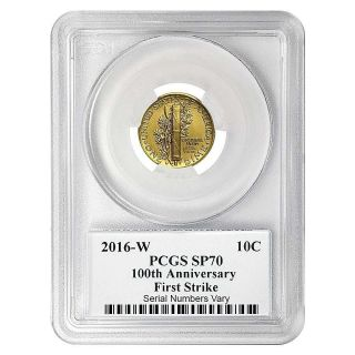 100th Anniversary Mercury Dime.  9999 Gold Pcgs Sp 70 First Strike $329.  88 photo