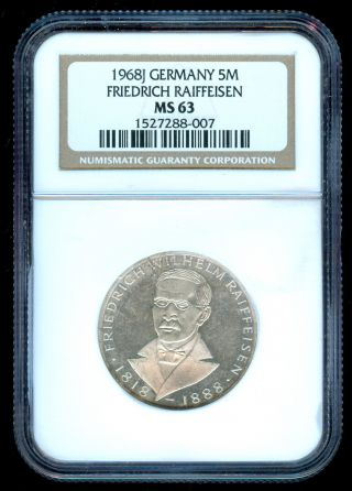 1968 West Germany Raiffeisen Silver 5 Mark Ngc Ms 63 photo