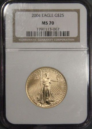2004 $25 American Gold Eagle Coin Ngc Certified Ms 70 Inv 825 photo