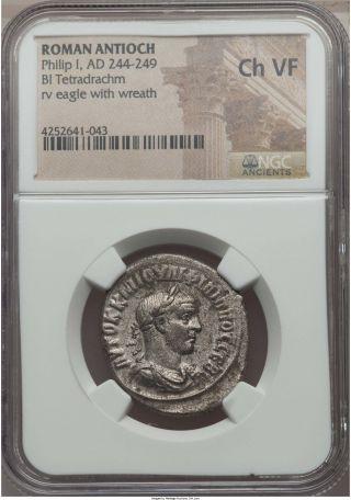 Philip I Ad 244 - 249 Bi Tetradrachm Ngc Choice Ch Vf - Roman Antioch (41043) photo