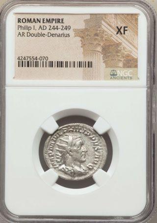 Philip I Ad 244 - 249 Ar Antoninianus - Double Denarius - Rome Ngc Xf (54 - 070) photo