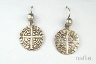 Antique Medieval English Silver Edward I Long Cross Penny Coin Earrings C1310 photo