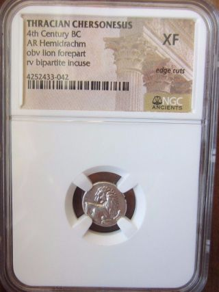 Thrace Chersonesus Ca 386 - 338 Bc Silver Ancient Coin Hemidrachm Ngc Xf Edge Cuts photo