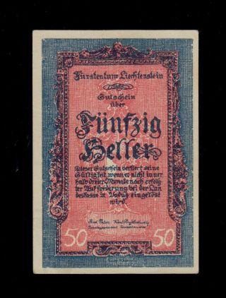 Liechtenstein 50 Heller (1920) Pick 3 Au. photo
