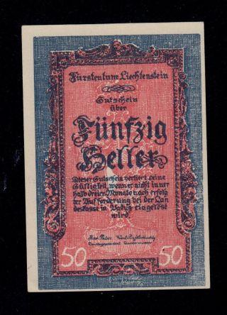 Liechtenstein 50 Heller (1920) Pick 3 Unc -.  Banknote. photo