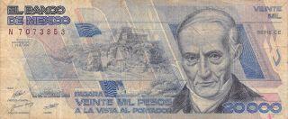 Mexico 20,  000 Pesos 1.  2.  1988 P 92a Series Dd Prefix M Circulated Banknote photo