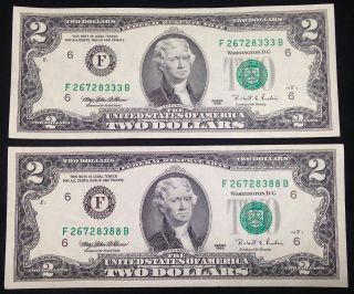 $2 Two Dollar Bills,  Similar Serial Numbers,  Uncirculated Us Currency photo