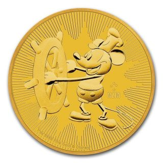 2017 Niue 1 Oz Gold $250 Disney Steamboat Willie Coin Bu - Sku 132405 photo