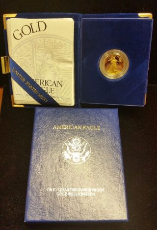 1994 - W 1/4 Oz $10 Proof American Gold Eagle - Box And photo