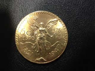 Mexico 1947 50 Pesos Gold Coin, photo