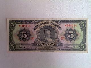 5 Peso Mexico Banknote 1961 Cir.  Gypsy Abnc photo