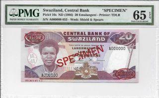 Swaziland,  Central Bank - 20 Emalangeni,  Nd (1986).  Specimen.  Pmg 65epq. photo