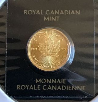 1 Gram 50 Cent Gold Maple Leaf.  9999 Fine Canadian Maplegram25 photo