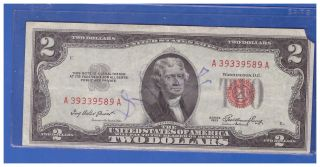 1953 $2 Dollar Bill Old Us Note Legal Tender Paper Money Currency Red Seal R342 photo