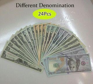 24pcs Different Bills - Best Novelty Movie Prop Play Money - Fake Prank Joke photo