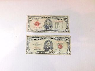 2 5 Dollar Series 1928f & 1963 Red Seal Silver Certificate Note Circulated photo