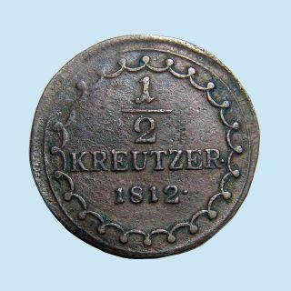 1812 S Habsburg Austria 1/2 Kreuzer Km 2109 Napoleonic Wars Of Sixth Coalition photo