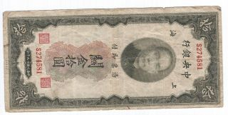China 10 Customs Gold Units 1930 P327c With