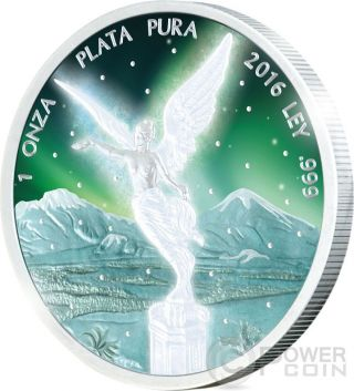 Libertad Frozen Rhodium Aurora 1 Oz Silver Coin Mexico 2016 photo